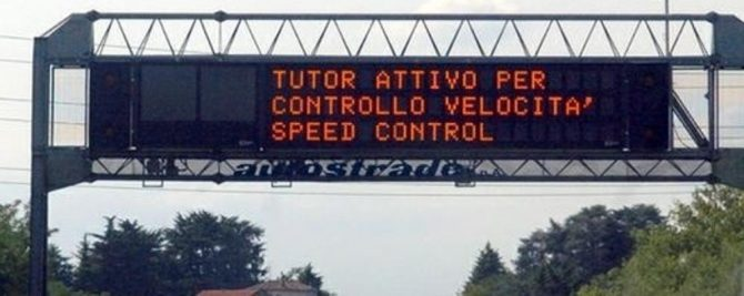 "MULTE: spenti tutti i ""Tutor"" in Autostrada"
